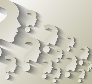 Human face with question mark illustration on white background